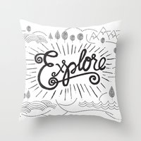 explore Throw Pillows featuring EXPLORE by Matthew Taylor Wilson