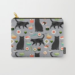 black cat sushi cat lover pet gifts cute cats Carry-All Pouch
