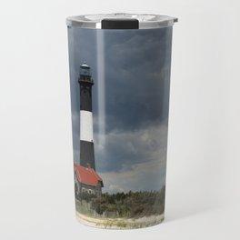 Dramatic Sky Over Fire Island Light Travel Mug