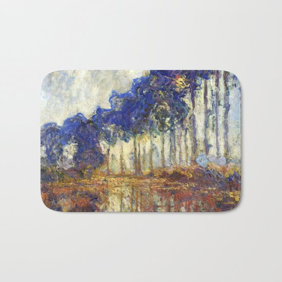 Poplars on the Bank of the Epte River by Claude Monet Bath Mat