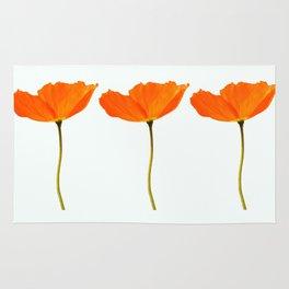 Three Orange Poppy Flowers White Background #decor #society6 #buyart Rug