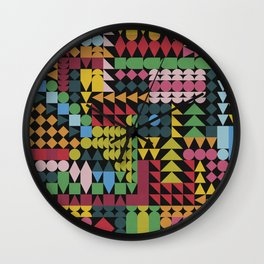 Colorful Geometric Abstraction Wall Clock