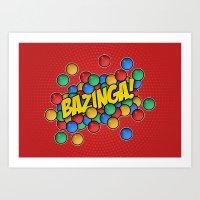 bazinga Art Prints featuring Bazinga! by Skeleton Jack