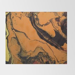 Dirty Acrylic Pour Painting 07, Fluid Art Reproduction Abstract Artwork Throw Blanket