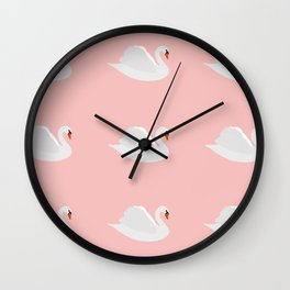white swan on pink Wall Clock