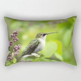 Hummingbird with Lilacs Rectangular Pillow