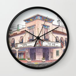 Boise Egyptian Theater Watercolor Painting Wall Clock