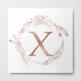 Letter X Rose Gold Pink Initial Monogram Metal Print