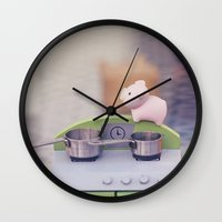 cooking Wall Clocks featuring Cooking Classes by Irène Sneddon