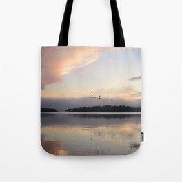 Lifting Up: Geese Rise at Dawn on Lake George Tote Bag