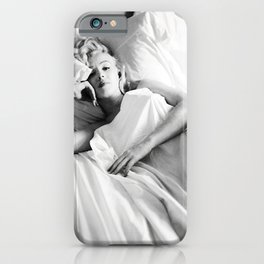 Mari-lyn Monroe in Bed - Gift, Home Decor, photography, American icon, actress, Vintage poster, print, iPhone Case