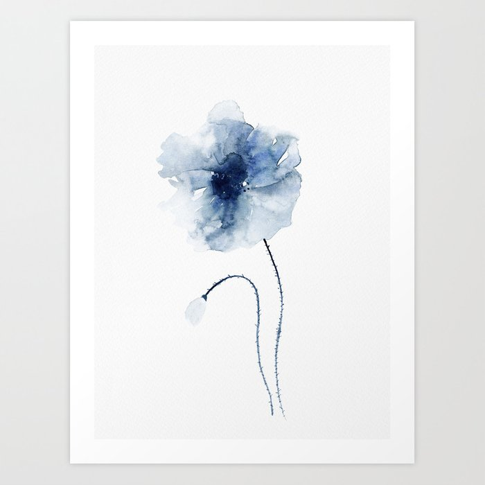 Blue Watercolor Poppies #2 Art Print