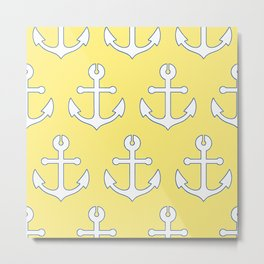Lemon Yellow Nautical Navy and White Anchors Metal Print