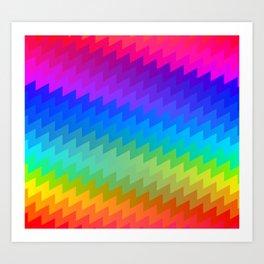 Rainbow chevron Art Print