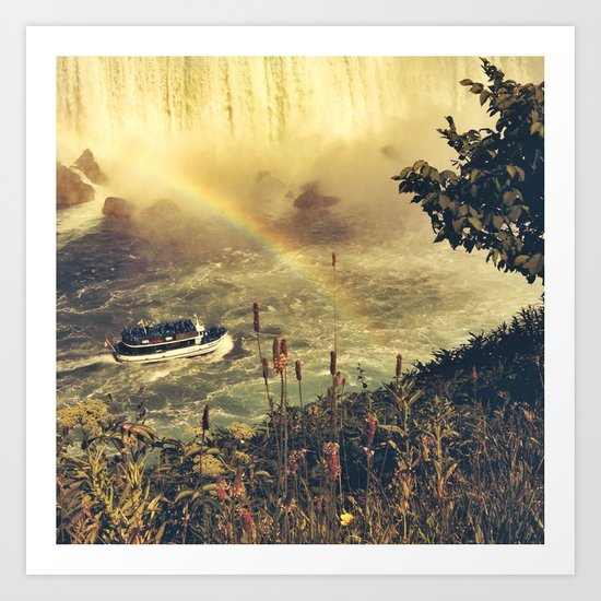 Eyes filled with rainbow, she slid bravely past the rocks. Art Print