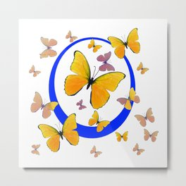 YELLOW BUTTERFLIES & BLUE RING MODERN ART Metal Print