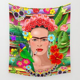 Frida Kahlo Floral Exotic Portrait Wall Tapestry