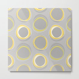 Solar Eclipse MCM Gray-Yellow Metal Print