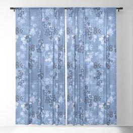 Sakura blossom in blue Sheer Curtain