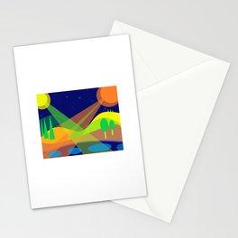 Paysage aquatique aux 2 lunes Stationery Cards