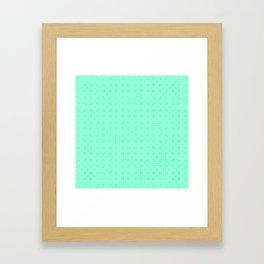 Aquamarine and White Interlocking Square Pattern Framed Art Print