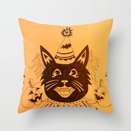 Orange Halloween Party Cat Throw Pillow