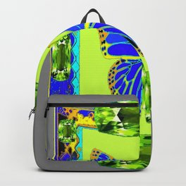 BLUE & GREEN  BUTTERFLY PERIDOT GEMMED GEOMETRIC Backpack