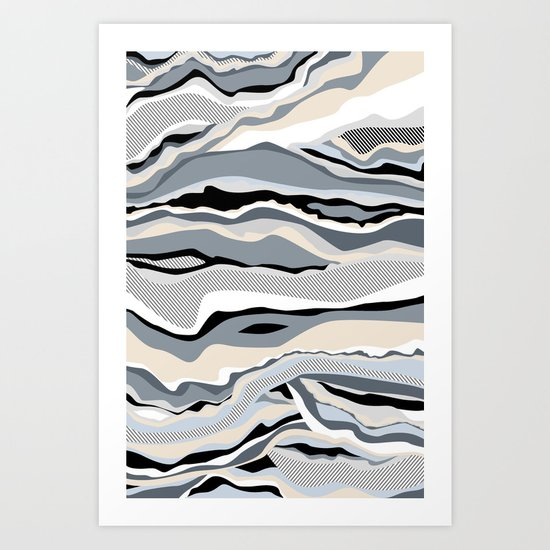 Black and white scandinavian minimal line pattern Art Print