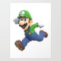 luigi Art Prints featuring Luigi by beepbeep1998