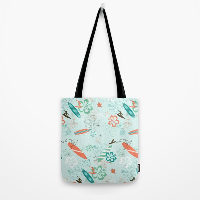 Surfs Up Blue Tote Bag
