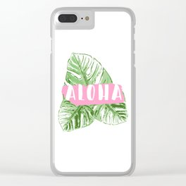 Aloha monstera leaves Clear iPhone Case