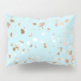 Blue Gold Modern Terrazzo Pillow Sham