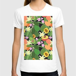 Avocado + Peach Stone Fruit Floral in Black T-shirt