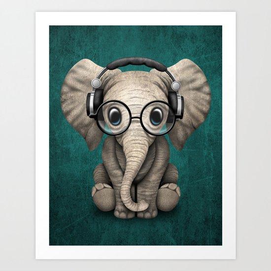 Cute Baby Elephant Dj Wearing Headphones and Glasses on Blue by jeffbartels