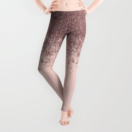 Girly Blush Pink and Gold Glitter Ombre Leggings