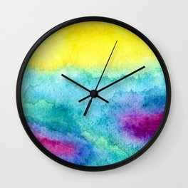 Modern neon yellow blue hand painted watercolor Wall Clock