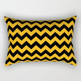 Large Pale Pumpkin Orange and Black Halloween Chevron Stripes Rectangular Pillow