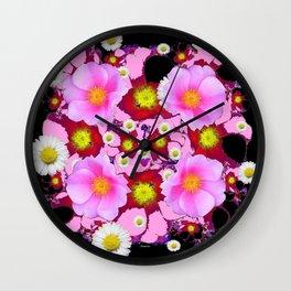 Black Design & Pink Roses Shasta Daisies Art Abstract Wall Clock