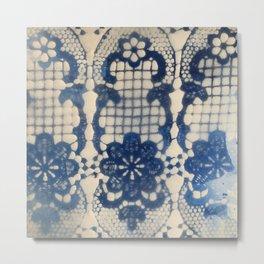 Belgium Lace, Royal Blue Metal Print
