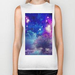 purple blue galaxy landscape Biker Tank