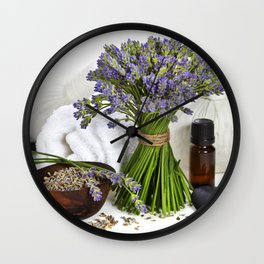 lavender spa (fresh lavender flowers, towel, essential oil, pebbles, Herbal massage balls) over whit Wall Clock