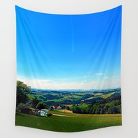 airplanes Wall Tapestries featuring Condensation trail with some scenery by Patrick Jobst