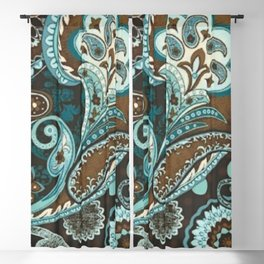 Turquoise Brown Vintage Paisley Blackout Curtain
