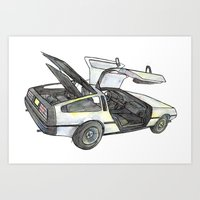 delorean Art Prints featuring DMC - Delorean by dareba