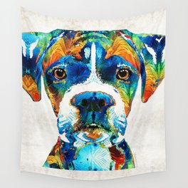 Colorful Boxer Dog Art By Sharon Cummings Wall Tapestry