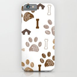 Brown colored paw print with bone and dog hut iPhone Case