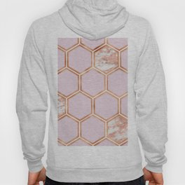 Copper blush marble hexagons Hoody