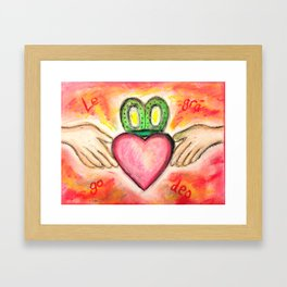 Irish Valentine Wedding Anniversary, Claddagh oil pastel card With Love Forever Framed Art Print