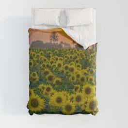 Tropical Sunset with Palms and Sunflowers color landscape photography / photograph / photographs wall decor Duvet Cover