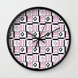 symetric tartan and gingham 3 -vichy, gingham,strip,square,geometric, sober,tartan Wall Clock